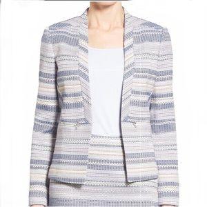 Halogen Medium Zip Pocket Tweed Open Front Jacket